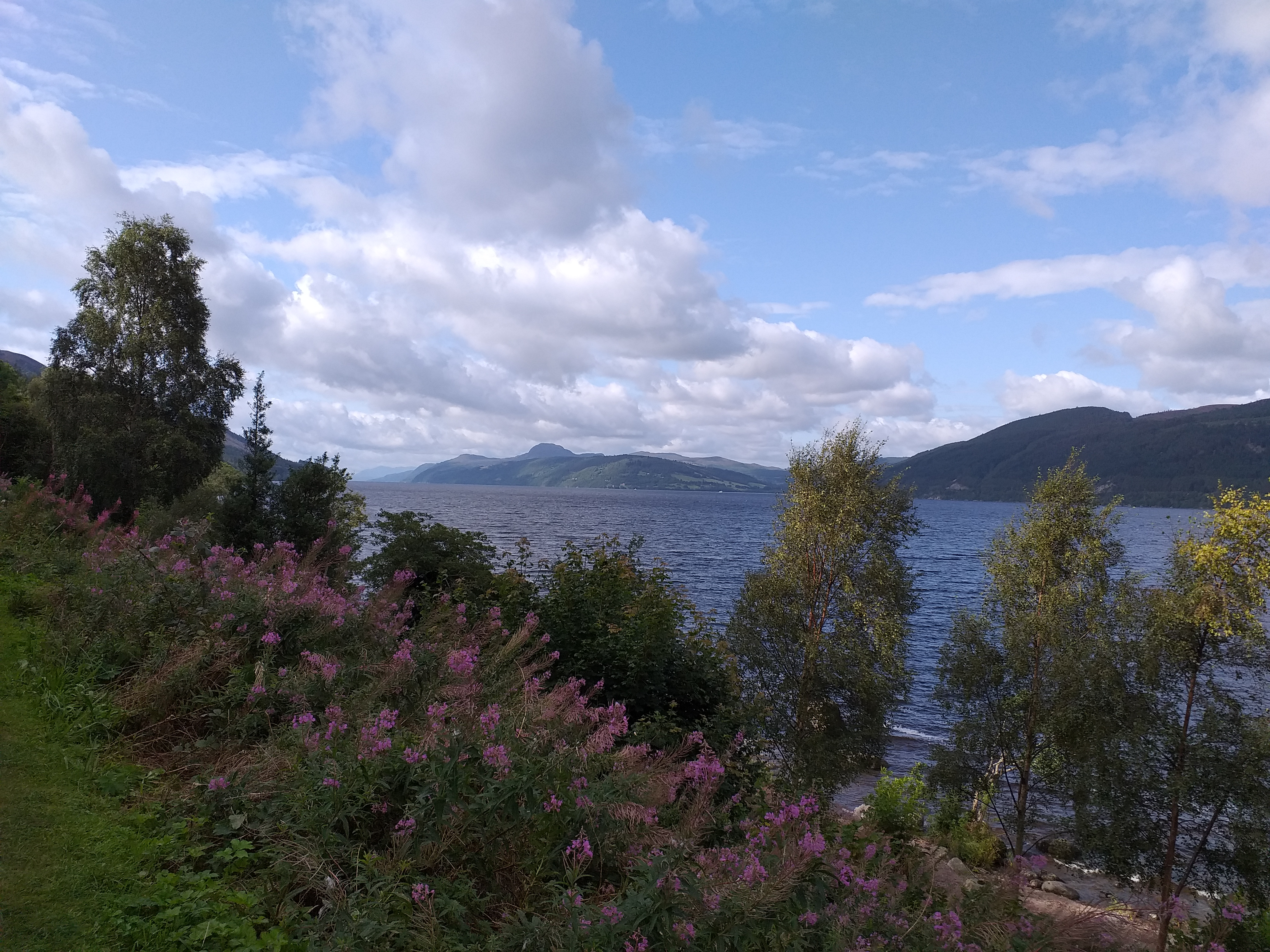 View of Loch Ness and mountains in the Scottish Highlands