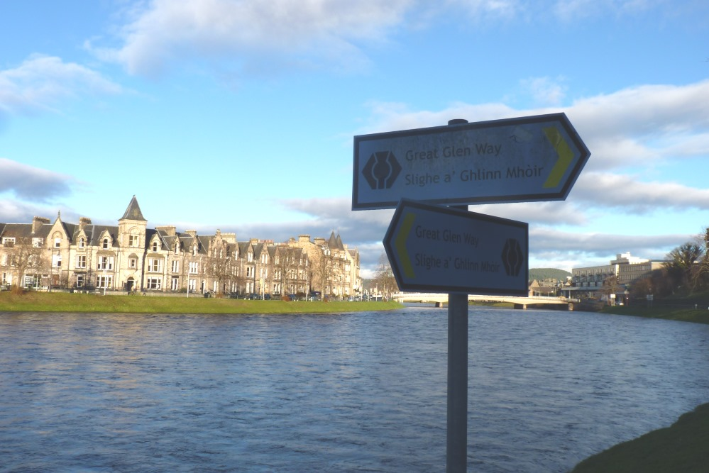 Great Glen Way signpost in Inverness near the River Ness
