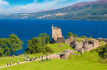 Ruins of Urquhart Castle on the banks of Loch Ness