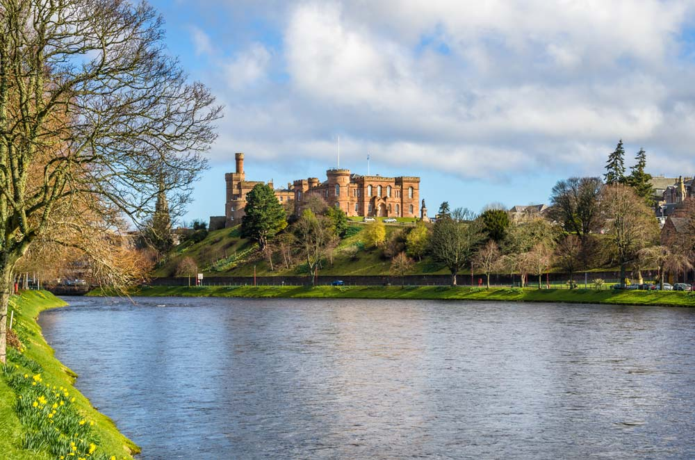 Looking over the water to Inverness Castle in Scotland