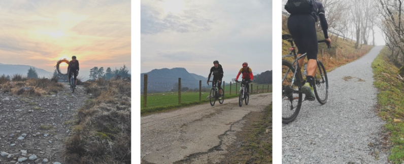 grid of 3 pictures of Cyclists and runners on the trail