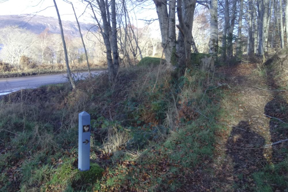 Waymarker on the South Loch Ness Trail near Dores