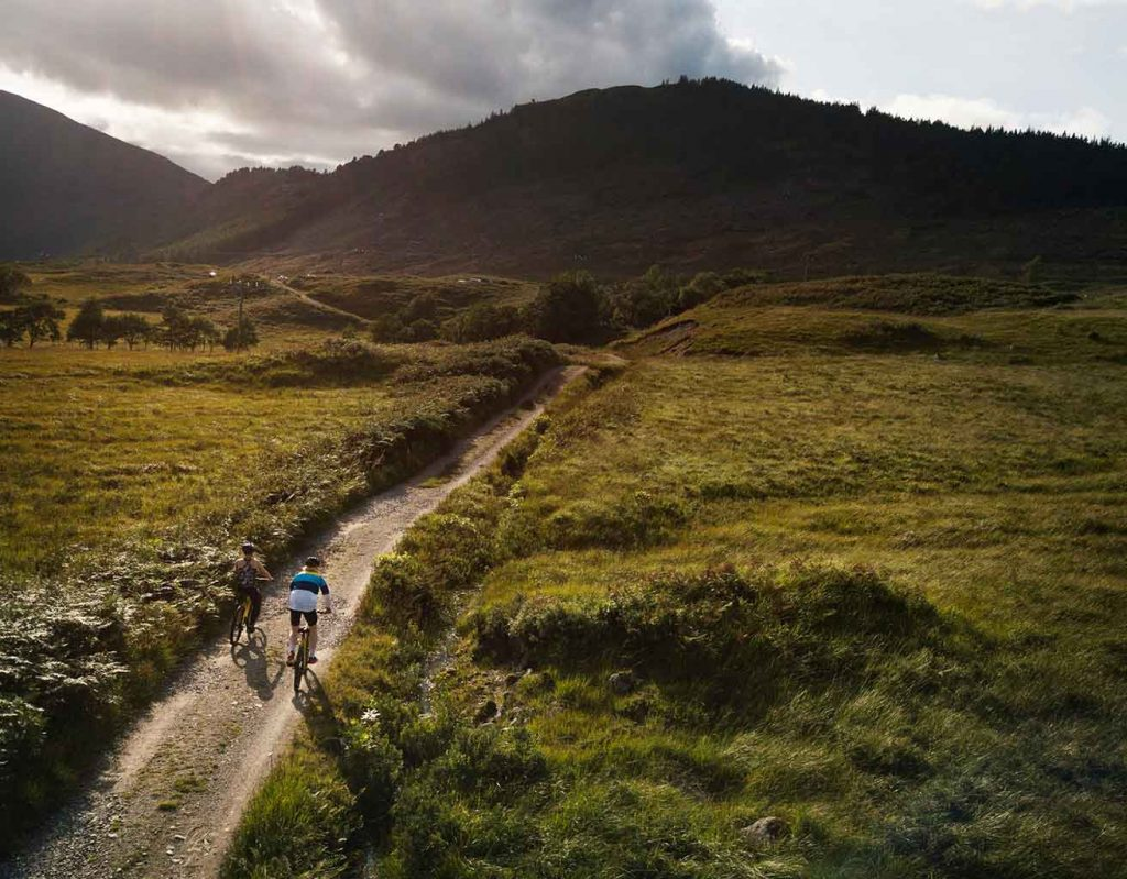 cycling in a mountainous region in Scotland