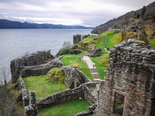 The ruins of Urquhart Castle in the winter