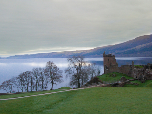 Urquhart Castle on the banks of Loch Ness in the winter