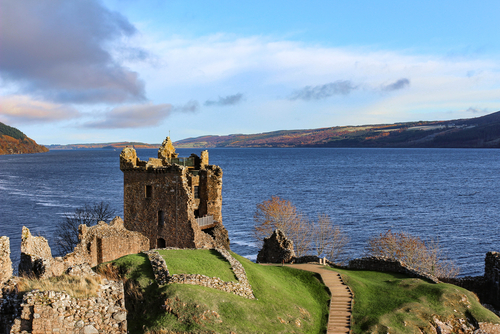 Urquhart Castle by Loch ness in the winter