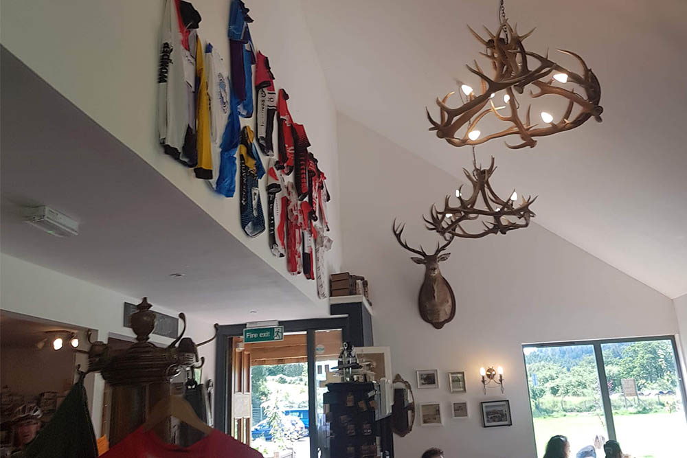 Red Deer antler chandeliers at at Camerons Tea Room